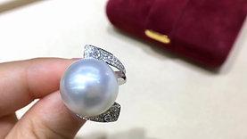 0.47ct Diamond, AAAA 14-15 mm South Sea Pearl Luxury Ring