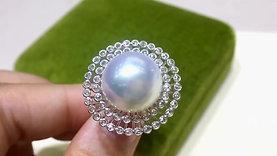 14-15 mm White South Sea Pearl Luxury Ring, 18k White Gold w/ Diamond - AAAA