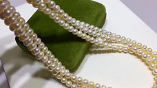 45cm, AAAA 5.5-6mm Golden Baby Akoya Pearl Triple Strands Necklace