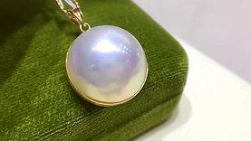 17-18 mm Aurora Mabe Pearl Classic Pendant 18k Gold w/ Diamond - AAAA