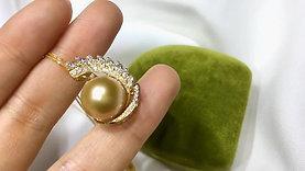 12-13 mm Golden South Sea Pearl Pendant 18k Gold w/ Diamond - AAAA