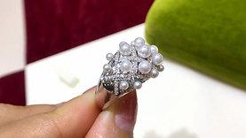 3-5 mm Baby Akoya Pearl Royal Ring, 18k Gold w/ Diamond - AAAA