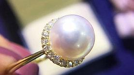 10-10.5mm Hanadama|花珠 Akoya Pearl Luxury Ring, 18k Gold w/ Diamond