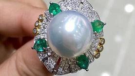14-15 mm South Sea Pearl Royal Ring, 18k Gold w/ Emerald - AAAA