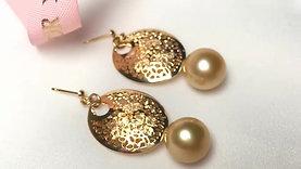 12-13 mm Golden South Sea Pearl Earrings 18k Gold - AAAA