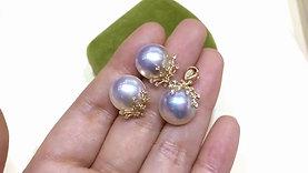 13-14 mm Mabe Pearl Classic Earrings 18k Gold - AAAA