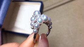 PMS 3-7mm Baby Akoya Pearl Princess Crown Ring 18k Gold w/ Diamond - AAAA
