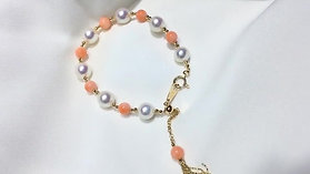 Natural Pink Coral, AAAA 8.5-9 mm Akoya Pearl Bracelet 18k Gold