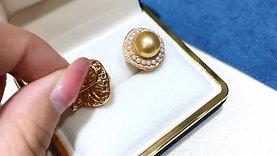0.61ct Diamnd AAAA 11mm South Sea Pearl Earrings 18k Gold w/ Freshwater