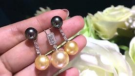 10-11 mm Golden South Sea Pearl Lace Earrings, 18k Gold - AAAA