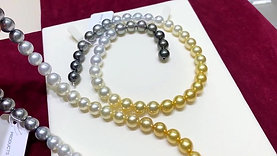 40cm AAA 9.5-10 mm Multiple Pearls Gradient Ombre Necklace Invisible Clasp