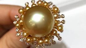 0.66ct Diamond, AAAA 16-17 mm South Sea Pearl & KESHI Pearl Luxury Ring