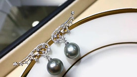 9-10 mm Tahitian Pearl Earrings, 18k White Gold w/ Diamond - AAAA