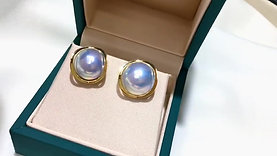 12-13 mm Mabe Pearl Classic Earrings 18k Gold - AAAA
