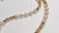 80cm Long Necklace, AAAA 7-7.5 mm Akoya Pearl Novel Sweater Strand 18k Gold