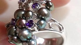 0.29ct Diamond AAAA 3-7 mm Wild Tahitian Pearl Ring 18k Gold w/ Sapphire