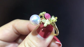 7.5-8mm Akoya Pearl & Conch Pearl Ring 18k Gold w/ Diamond