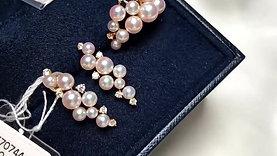 PMS | 3-6mm Baby Akoya Pearl Earrings 18k Gold Diamond