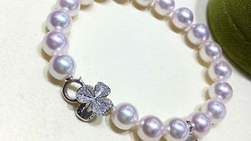 Famous Style! AAAA 8-8.5 mm Akoya Pearl Bracelet 18k Gold w/ Diamond