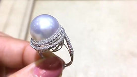 13-14mm White South Sea Pearl Ring Pendant, 18k White Gold w/ Diamond