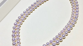 43cm AAAA 6.5-7.5 mm Akoya Pearl Double Strand Necklace Sterling Clasp