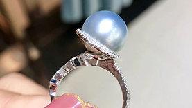 0.40ct Diamond, AAAA 11-12 mm Gray Tahitian Pearl Ring, 18k Gold
