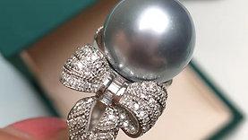 12-13 mm Tahitian Pearl Ring, 18k Gold w/ Diamond - AAAA