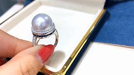 1.05ct Sapphire AAAA 13.5 mm South Sea Pearl Luxury Ring 18k Gold Diamond