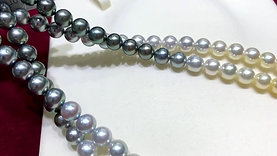 58cm Long Necklace, AAA 8-8.5 mm Multiple Pearls Gradient Ombre Strand