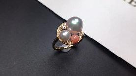 AAAA 5 & 9mm Akoya Pearl Ring, 18k Gold w/ Diamond, Natural Coral