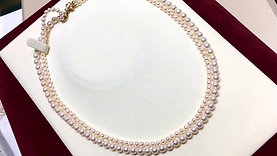 43cm, Rin Color | 彩凜珠 3.5-5.5 mm Akoya Pearl Double Strand w/ 14k Gold Clasp