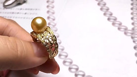 9-10 mm Golden South Sea Pearl Ring, 18k Gold w/ Diamond - AAAA