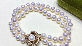 AAAA 6-6.5 mm Akoya Pearl Double Strand Bracelet 14k Gold