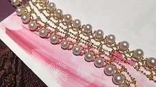 45cm, AAA 5-6mm Akoya Pearl Retro Necklace, 18k Gold and Italian Craft