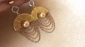 18k Rose, White & Yellow Gold, AAAA 9-10 mm South Sea Pearl Earrings