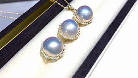 12-13mm Mabe Pearl Earrings 18k Gold w/ Diamond - AAAA