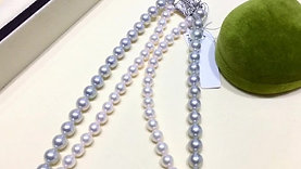 43cm Double Heart Strand Set | 6.5-7.5mm Akoya Pearl Necklace Sterling Clasp