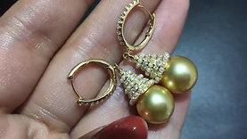11-12mm Golden South Sea Pearl Earrings, 18k Gold w/ Diamond - AAAA