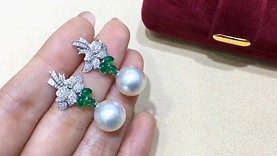 1.40ct Emerald, AAAA 11-12 mm South Sea Pearl Earrings 18k Gold w/ Diamond
