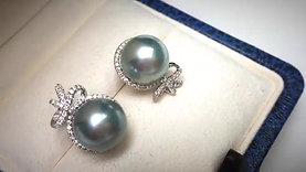 10-11mm Tahitian Pearl Earrings, 18k White Gold w/ Diamond - AAAA