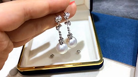 1.40 ct Diamond, AAAA 12-13 mm South Sea Pearl Luxury Earrings 18k Gold