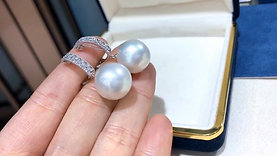 0.50ct Diamond AAAA 14-15mm South Sea Pearl Push-back & Clip-on Earrings 18 Gold
