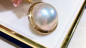 AAAA 20-21 mm Mabe Pearl Classic Pendant 18k Gold Diamond