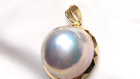 19-20mm Large Mabe Pearl Pendant 18k Gold - AAAA
