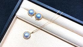 AAAA 12-13 mm Aurora Mabe Pearl Earrings 18k Gold w/ Diamond