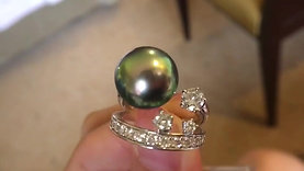 PMS 12.1mm Tahitian Pearl Unique Ring - AAAA