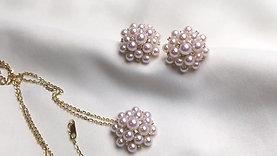 AAAA 3-4mm Baby Akoya Pearl Flower Cluster Pendant, 18k Gold w/ Diamond