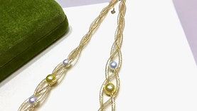 45cm, AAA 6-12mm Multicolor Pearl Hollow Mesh Chain Necklace 18k Gold