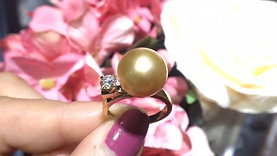 11-12mm Golden South Sea Pearl Ring, 18k Gold w/ GIA Diamond - AAAA