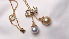 65cm, AAAA 12-13mm South Sea Pearl Adjustable Lariat Necklace, 18k Gold w/ Dmd